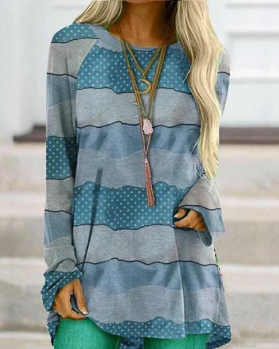 Women Print O-neck Long Sleeve Loose Blouse