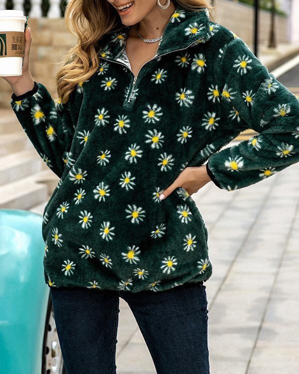 Flower Print Plush Long Sleeve Sweatshirt For Women