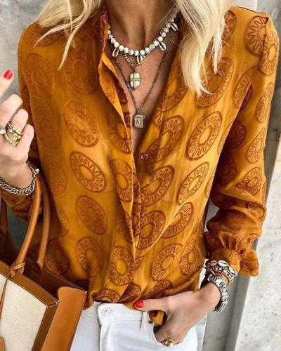 Women Lapel Vintage Print V Neck Button Shirts Blouses