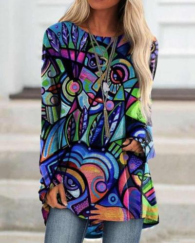 Women GrafftI Print Long Sleeve Irregular Plus Size Blouse