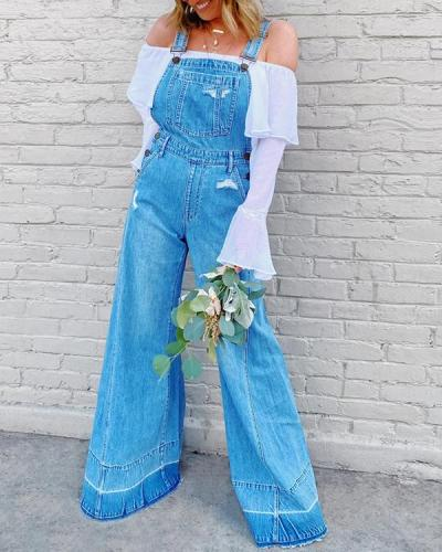 Fashionable Casual Women Overalls High Waist Jeans