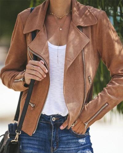 Lapel Collar Zippers Solid Short Jacket Coat