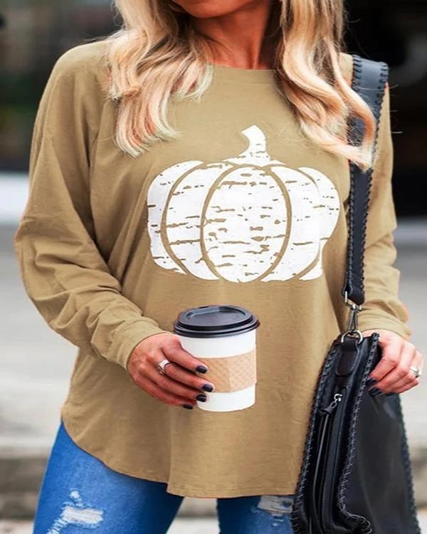 Casual Round Neck Printed Blouses