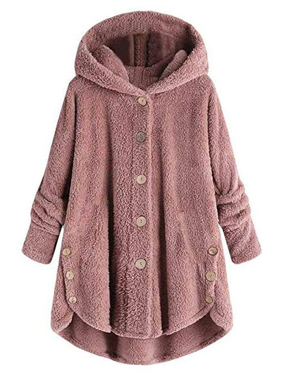 Fleece Hooded Irregular Hem Button Coats