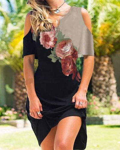 Cold Shoulder Round Neck Dresses