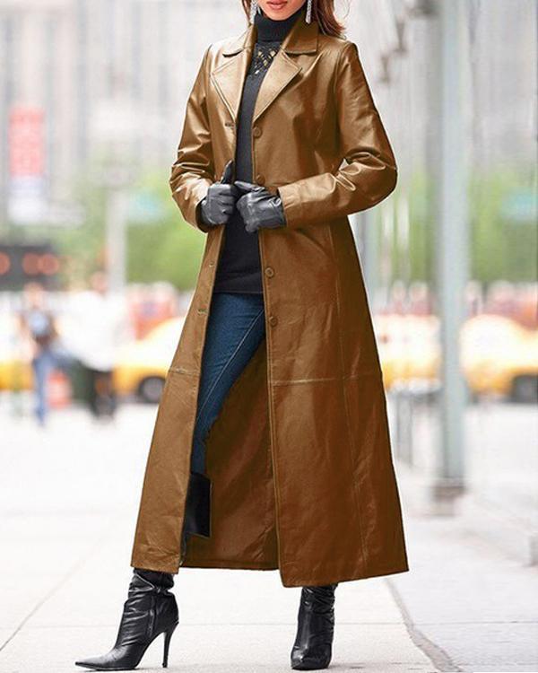 Womens Winter PU Leather Slim Fit Overcoat