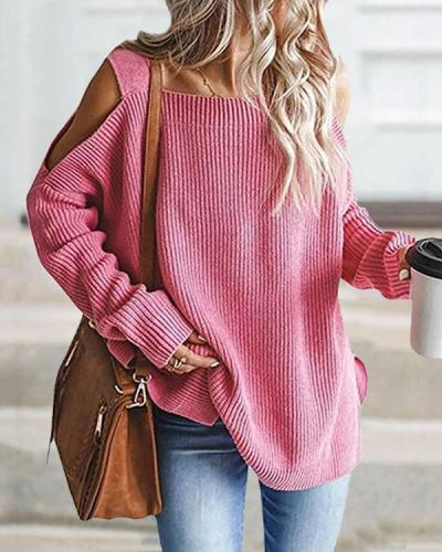 Plain Long Sleeve Casual Loose Cold Shoulder Sweater