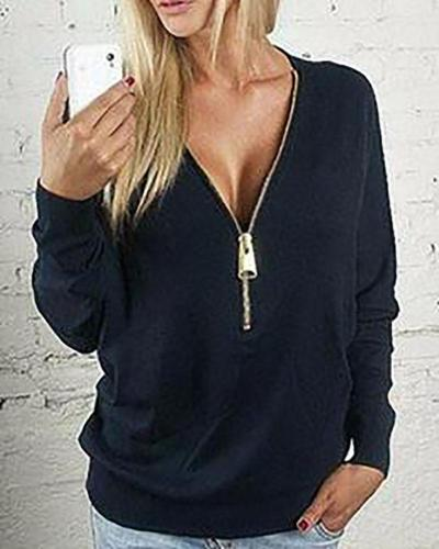 Front Zip Front Design V-neck Long Sleeves T-shirt Tops