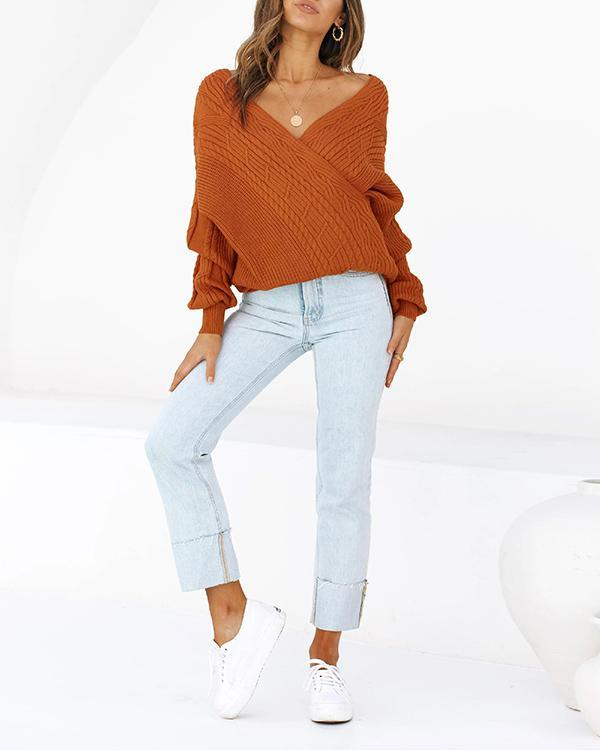 Rust Sexy V-neck Cable Knit Sweater