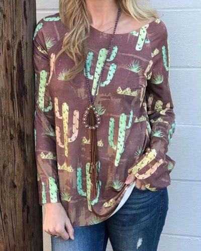 Print Cotton-blend Casual Loose Blouses