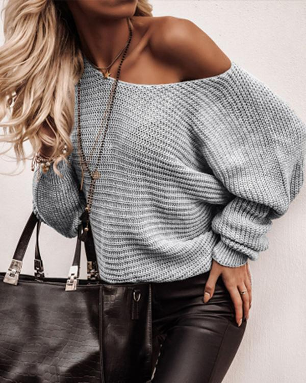 Casual Solid One Shoulder Loose Knit Sweater