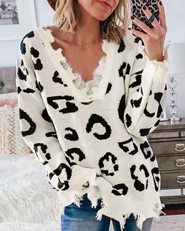 Asymmetrical Distressed Leopard Sweater