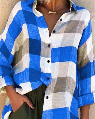 Women Long Sleeve Shirt Loose Plaid Shirts