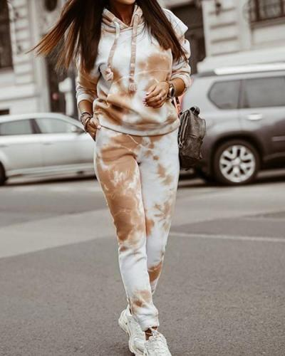 Women Casual Tie Dye Hooded Suit