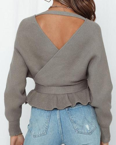 Sexy V-neck Halter Casual Lace-up Crop Knit Sweater