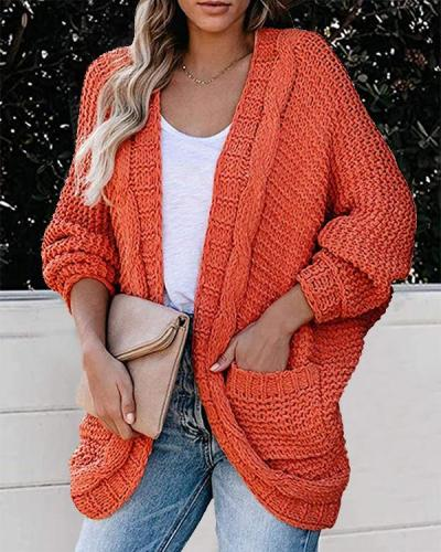Fashion Solid Cable Knit Casual Bat Sleeve Cardigan