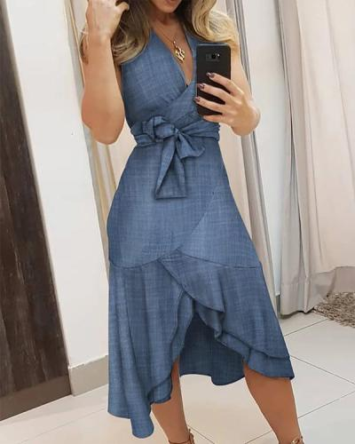 V-neck Solid Knotted Irregular Dress