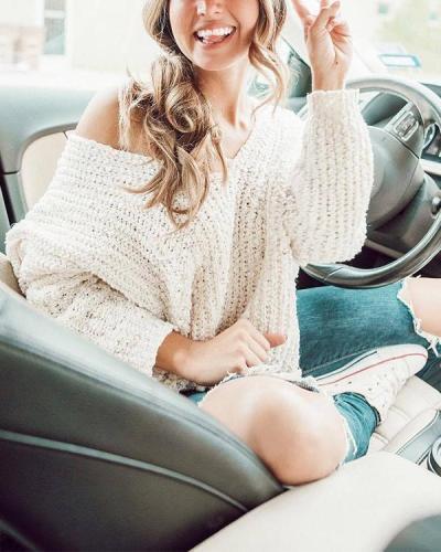 White Sexy V-neck Chunky Knit One Shoulder Sweater
