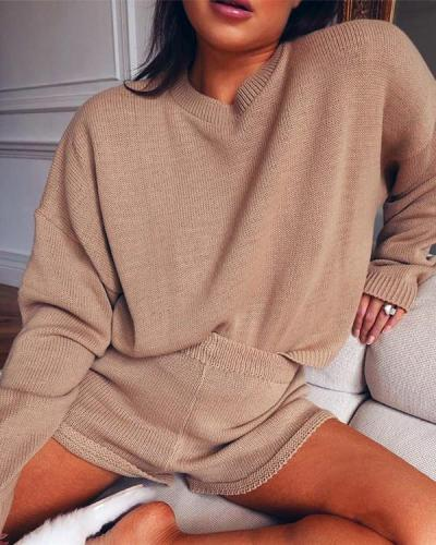 Casual Loose Loungewear Solid Knit Top&Shorts Set