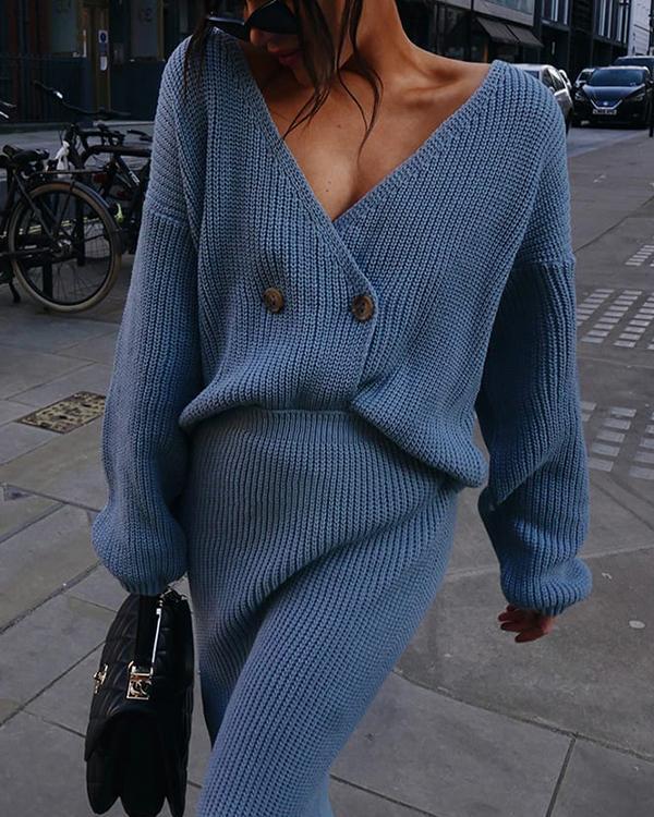 Fashion Solid Sweater Skirt Set
