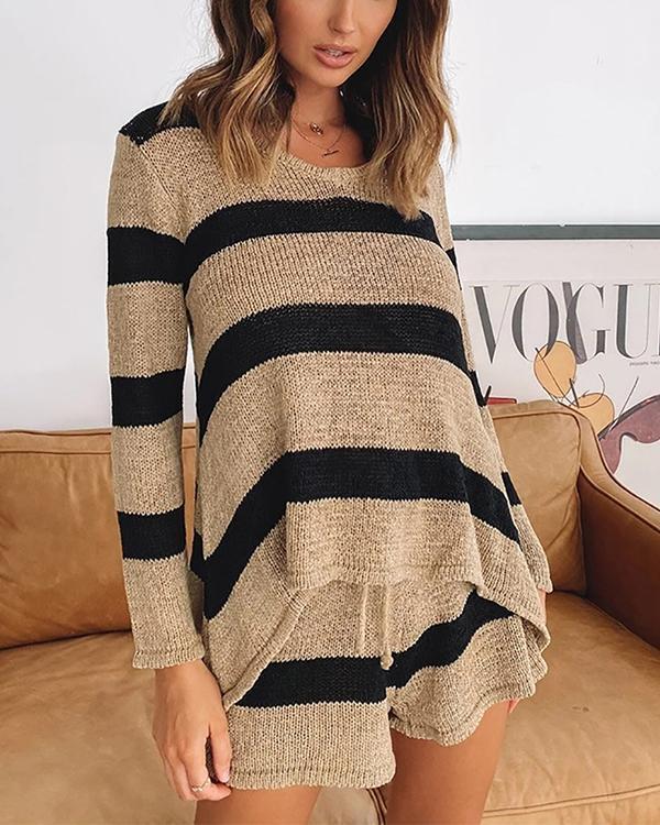 Casual Loose Loungewear Stripe Knit Top&Shorts Set