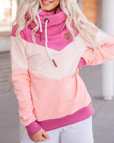Casual Long Sleeves Patchwork Sweatshirt