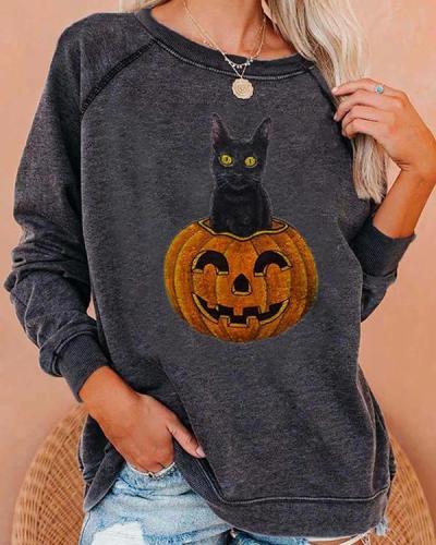 Women's Casual Halloween Cat Pumpkin Print Sweatshirt