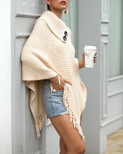 Womens Sweater Knit Tassel Crochet Sweaters Pullover Cape Shawl Wrap