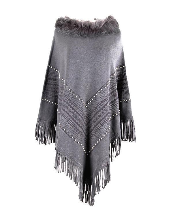 Pullover Patchwork Fur Collar Tassel Cape Women Winter Knitted Loose Cloak Boho Sweaters