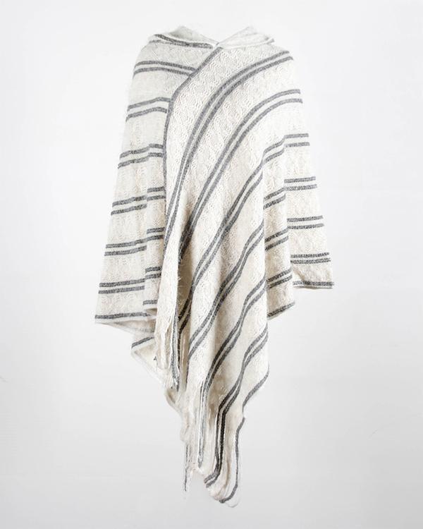 Tassel Cloak Batwing Sleeve Knit Striped Sweater