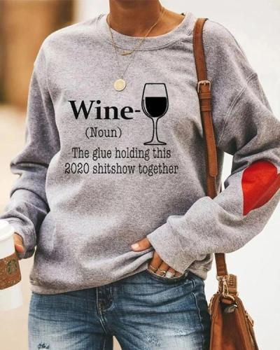 Women's Casual Letter and Glass Print Sweatshirt