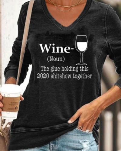 Women Casual Long Sleeve Printed V Neck Shirt
