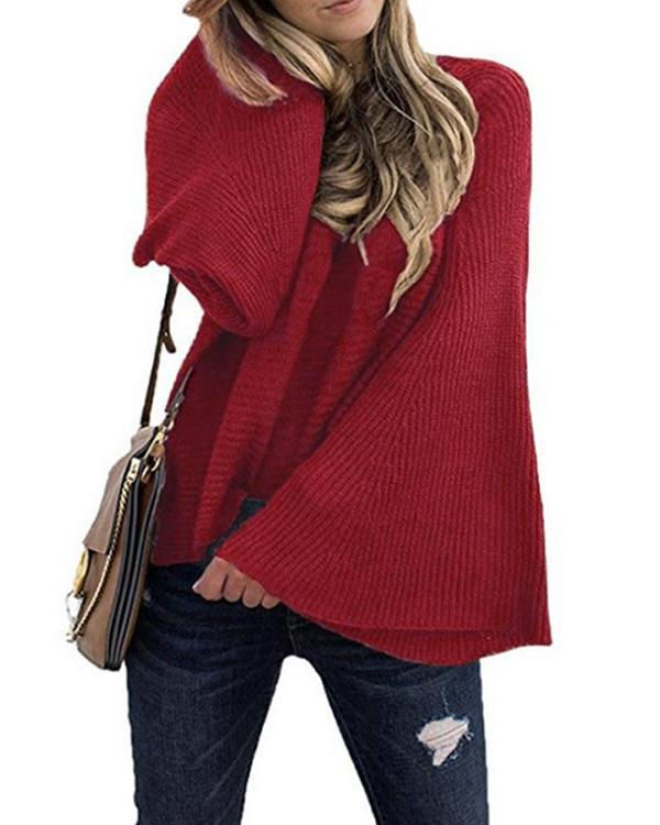 Solid Flare Sleeve Pullover Sweaters