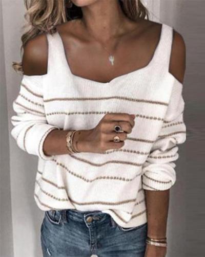Women Cold Shoulder Stripe Casual Sweater