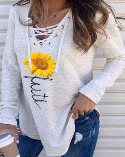 Lace Up Hooded Pullover Print Sweatshirts