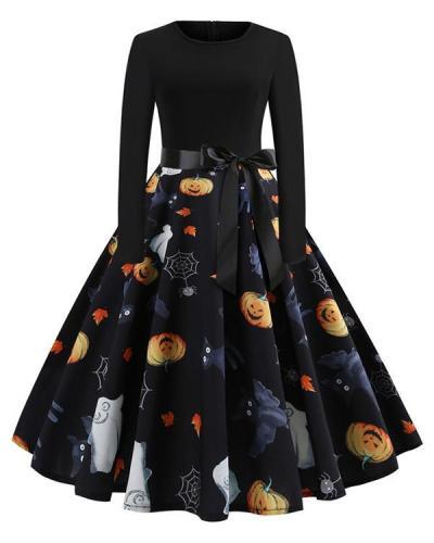 Halloween Pumpkin/Skull RoundNeck Print Dress With Waistband