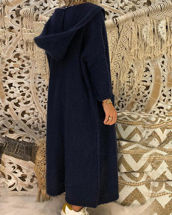 Solid Pocket Hooded Casual Long Cardigan(6Colors)