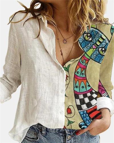 Turn Down Collar Print Long Sleeve Blouse