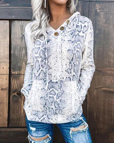 Casual V Neck Button Drawstring Camo/Leopard/Snake Hoodie Sweatshirt