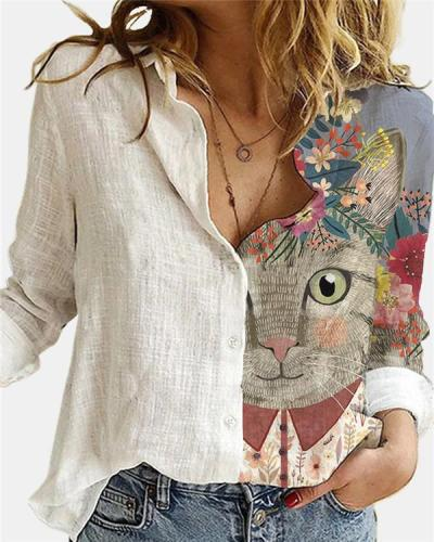 Cute Animal Printed Lapel Collar Long Sleeve Loose Blouse