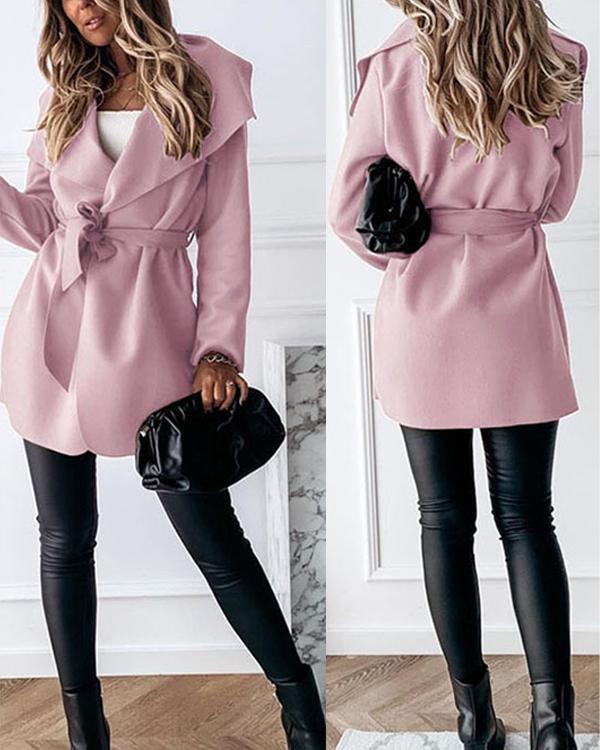 Women Fashion Lace up waistline Turndown Collar Trench Coat