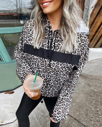 Women Casual Loose Leopard Zipper Design Hoodies
