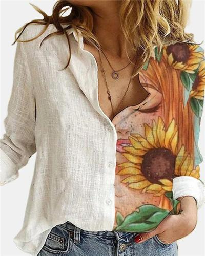 Flower Printed Lapel Collar  Long Sleeve Blouse
