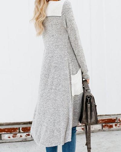 Fashion Stripe Color Stitching Pocket Knit Sweater Cardigan