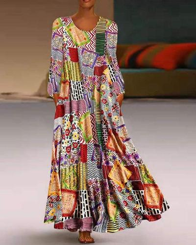 Plus Size Dress Boho Printed A-Line Maxi Dresses