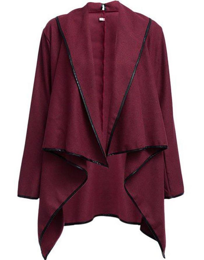 Long Sleeve Shawl Collar Piping Coat