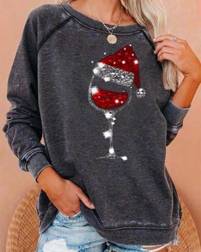Christmas Red Wine Glass Print Cozy Sweatshirt
