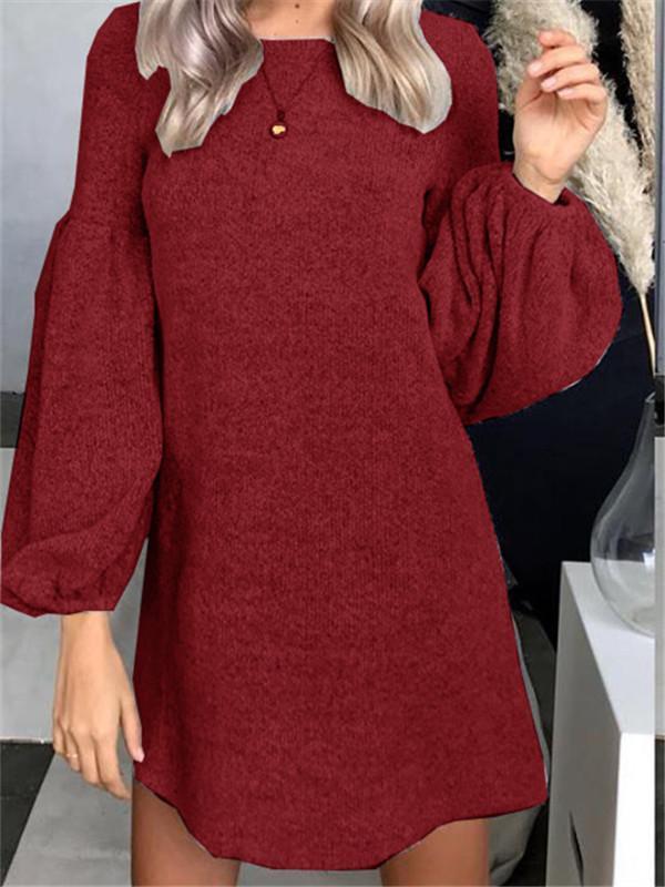 Autumn and Winter Fashion Knit Sweater Dress Bottoming Shirt Puff Sleeve Tunic Top