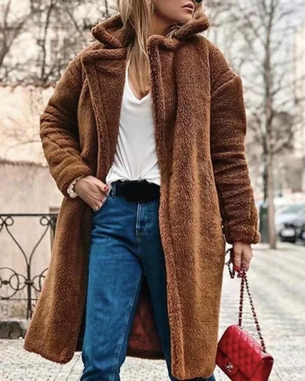 Brown Fashion Warm Fluffy Long Sleeve Teddy Bear Coats