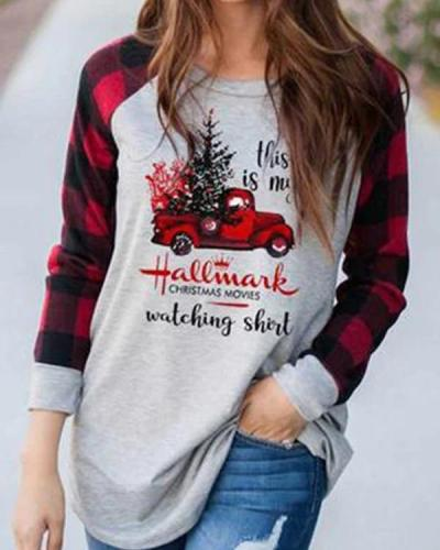 Casual Plus Size Christmas Cotton Blend Plaid Shirt & Top